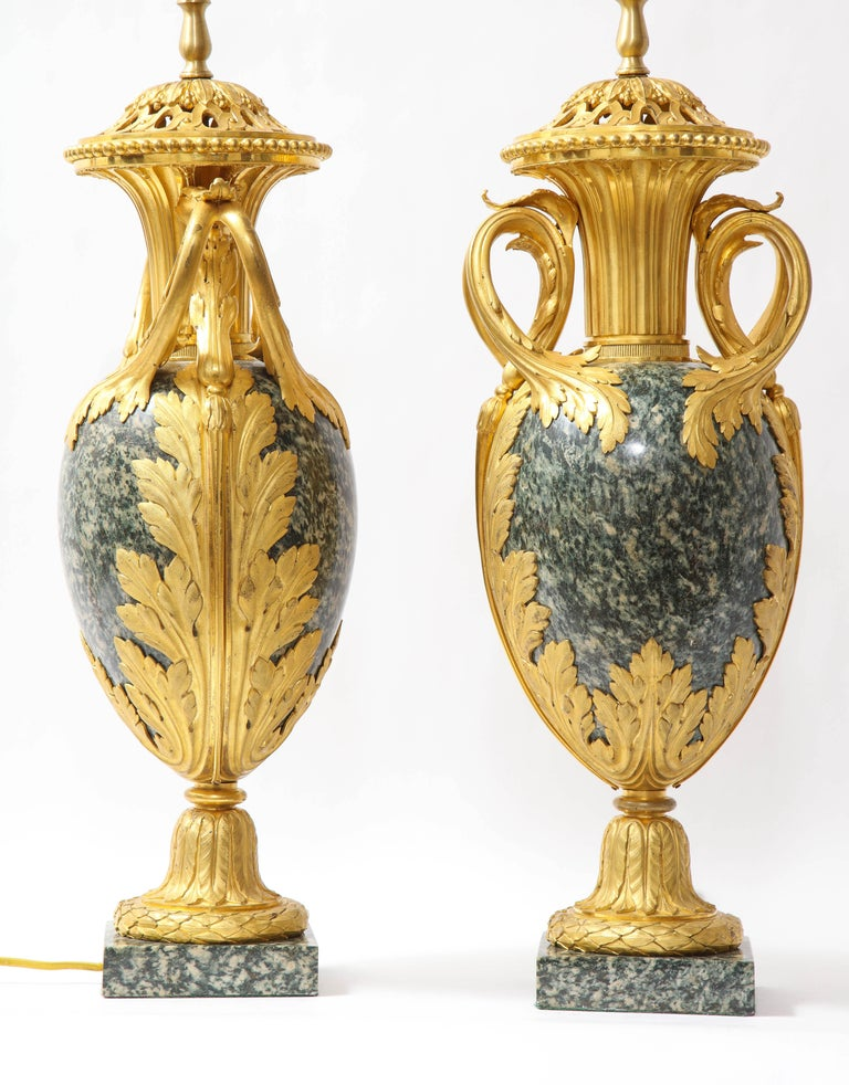 Pr French 19th C. Dore Bronze Mntd Green Marble/Porphyry Lamps, Att. H. Dasson For Sale 3