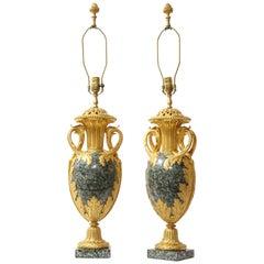 Pr French 19th C. Dore Bronze Mntd Green Marble/Porphyry Lamps, Att. H. Dasson