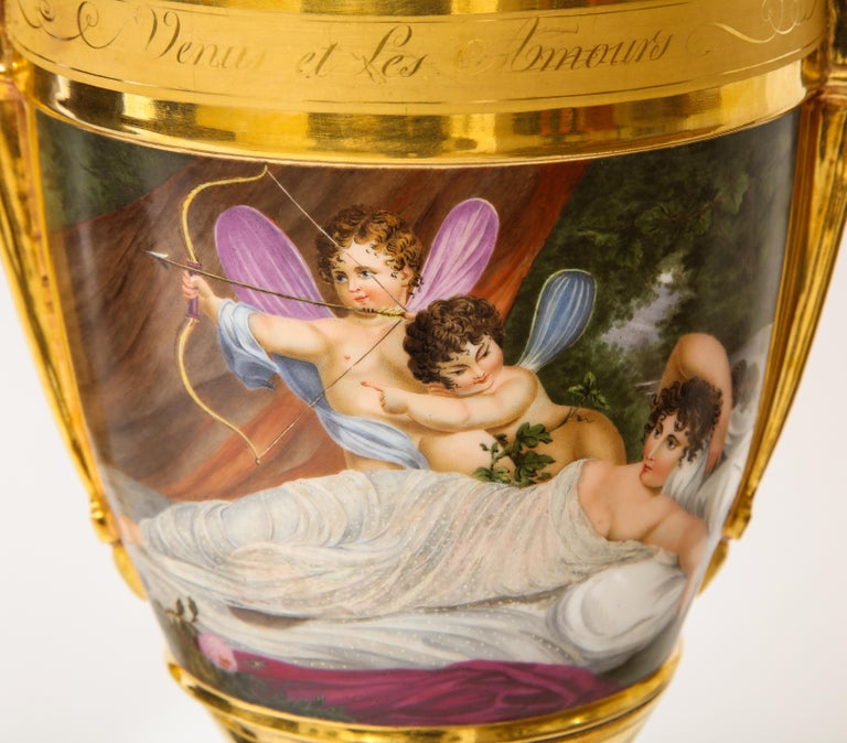 Pair of First-Empire Period 2-Handled Porcelain Vases with Westall Venus Scenes For Sale 4