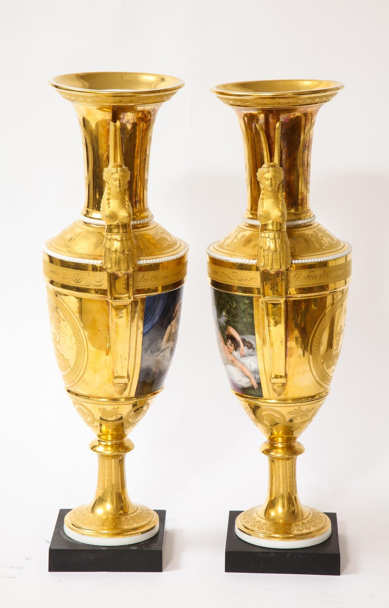 French Pair of First-Empire Period 2-Handled Porcelain Vases with Westall Venus Scenes For Sale