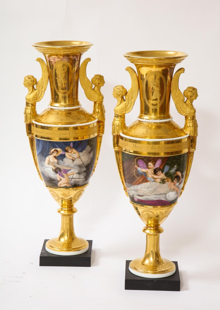 Gilt Pair of First-Empire Period 2-Handled Porcelain Vases with Westall Venus Scenes For Sale