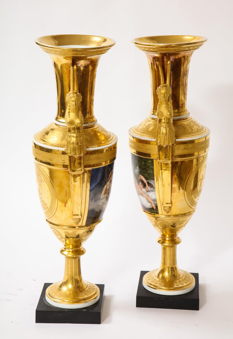 Early 19th Century Pair of First-Empire Period 2-Handled Porcelain Vases with Westall Venus Scenes For Sale