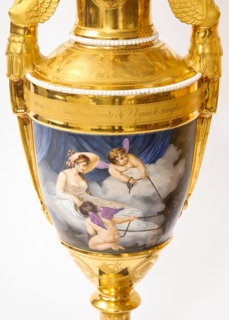 Pair of First-Empire Period 2-Handled Porcelain Vases with Westall Venus Scenes For Sale 1