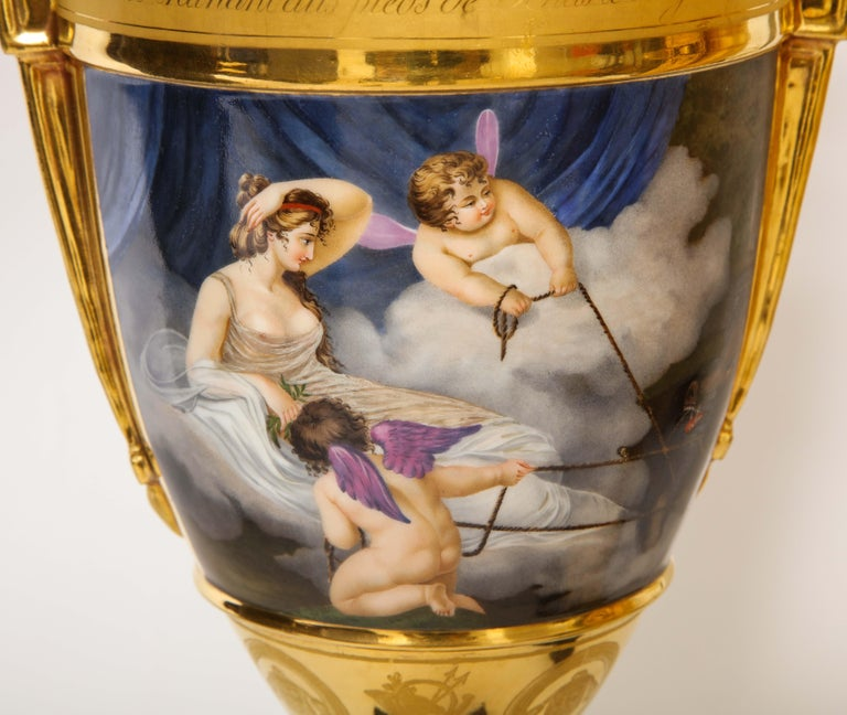 Pair of First-Empire Period 2-Handled Porcelain Vases with Westall Venus Scenes For Sale 3