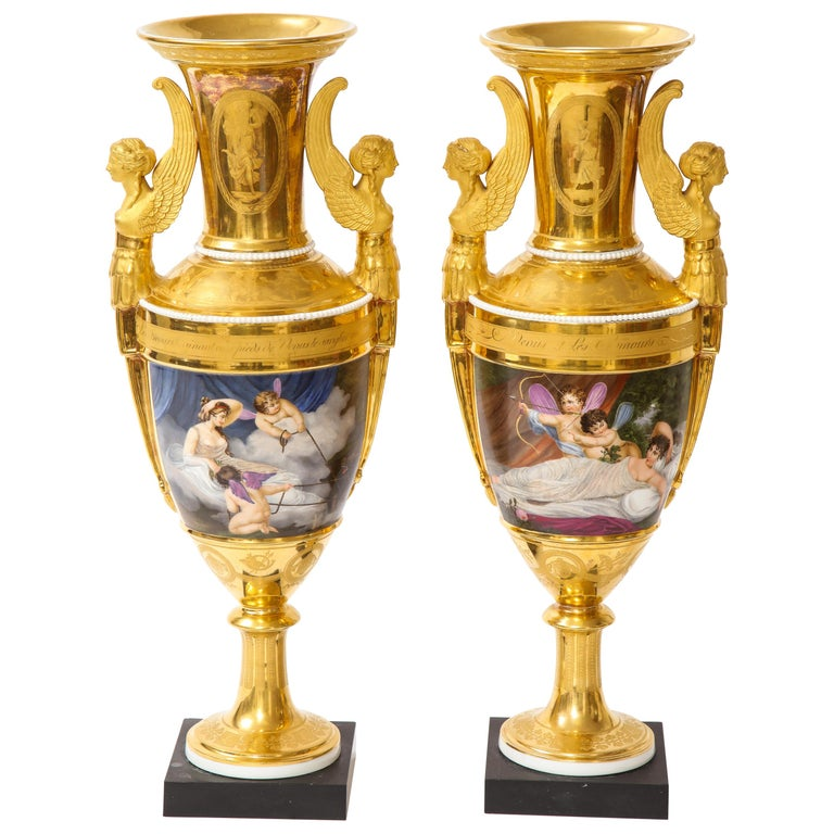 Pair of First-Empire Period 2-Handled Porcelain Vases with Westall Venus Scenes For Sale