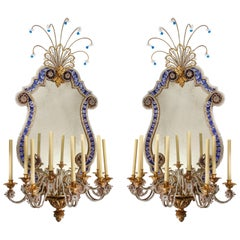 Pr French 20th C Dore Bronze Mnt Mirrored & Beaded Crystal 9-Arm Sconces