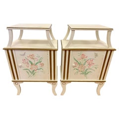 Pair of French Floral Painted Nightstands Bedside Tables