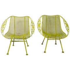 Pair of Garden Patio Lounge Chairs Chantilly Rose Sculptura