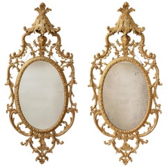 Pr. George III Gilt Carton-Pierre and Giltwood Oval Mirrors, Manner John Linnell