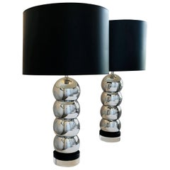 Pr George Kovacs Silver Chrome Plate Stacking Ball Table Lamps & Black Wood Base