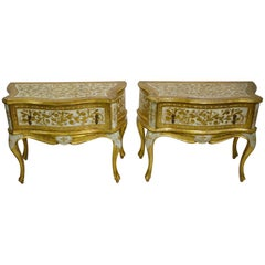 Pair of Giltwood Nightstands Made in Italy by Florentine Furniture