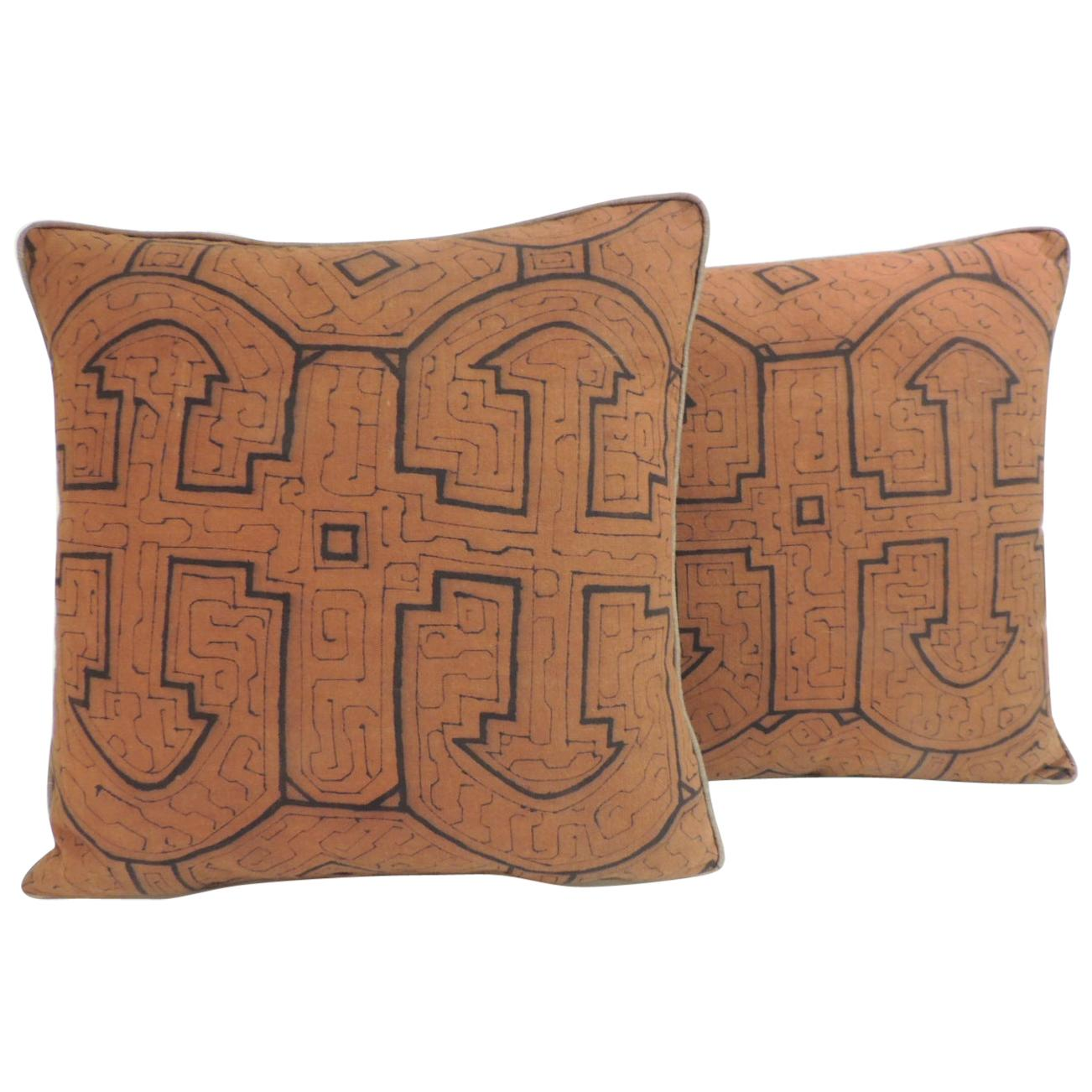 Graphic Tribal Peruvian Textile In Orange And Black Decorative Pillows 3 Pair