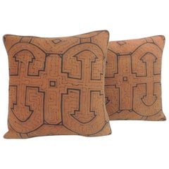 Graphic Tribal Peruvian Textile in Orange and Black Decorative Pillows #3, Pair