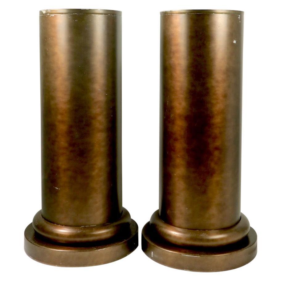 Pair of Half Column Planters in Anodized Aluminum