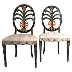 Pr. Hand Painted Side Chairs by Giemme Made in Italy