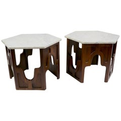 Pair of Hexagonal Marble-Top Tables after Probber