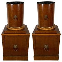 Pr Italian Empire Walnut & Giltwood Pedestal Cabinets, Estate of Gianni Versace