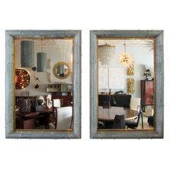 Pr Italian Modern Hand Blown Glass & Bronze Illuminated Mirrors Barovier & Toso