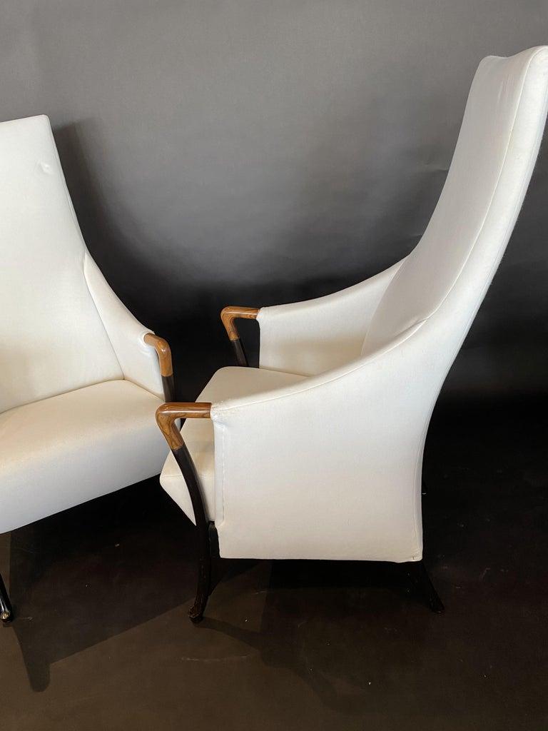 Late 20th Century Italian Modern Walnut & Ebonized Club Chairs, Umberto Asnago for Giorgetti, Pair For Sale