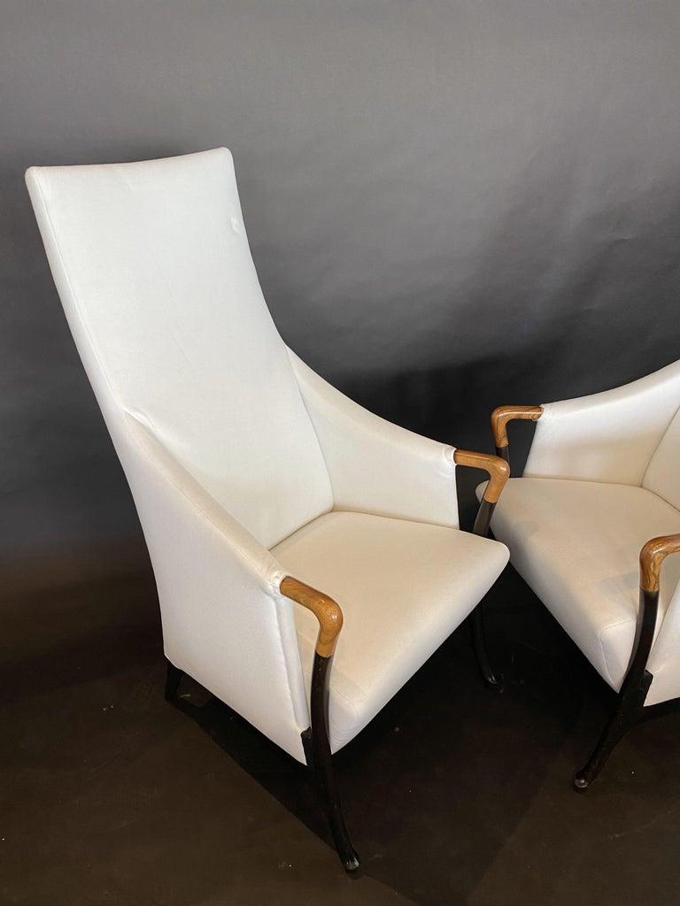 Ebony Italian Modern Walnut & Ebonized Club Chairs, Umberto Asnago for Giorgetti, Pair For Sale