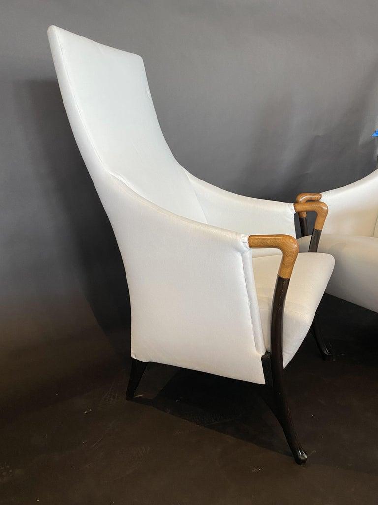 Italian Modern Walnut & Ebonized Club Chairs, Umberto Asnago for Giorgetti, Pair For Sale 1