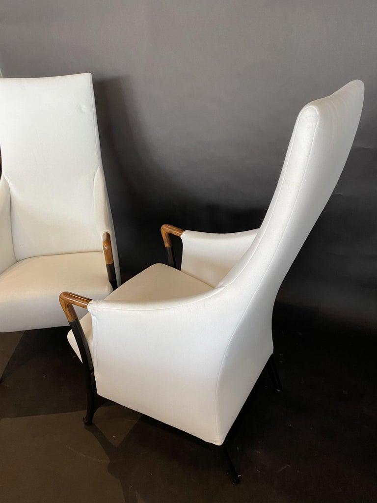 Italian Modern Walnut & Ebonized Club Chairs, Umberto Asnago for Giorgetti, Pair For Sale 2