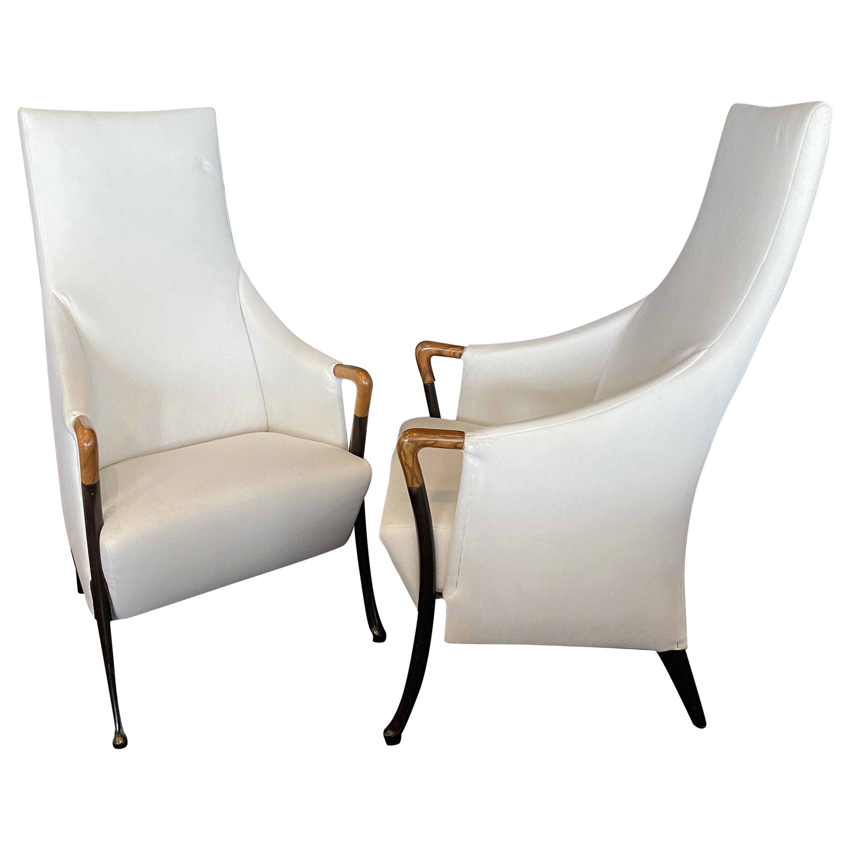 Italian Modern Walnut & Ebonized Club Chairs, Umberto Asnago for Giorgetti, Pair