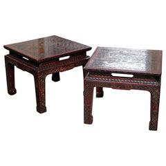Pair of John Widdicomb Coromandel Lacquer Carved Chinoiserie End Side Tables
