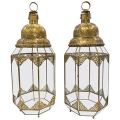 Pr Large Moroccan Moorish Handcrafted Brass and Glass Candle Lanterns Hurricanes