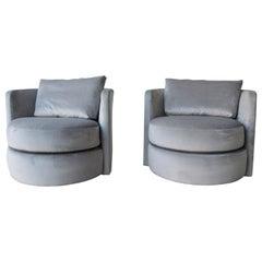 Pair of Signed John Mascheroni New Velvet Upholstered Swivel Chairs