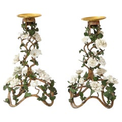 Pr. Louis XV Patinated Tole Candle Sticks Embellished w/ White Porcelain Flowers