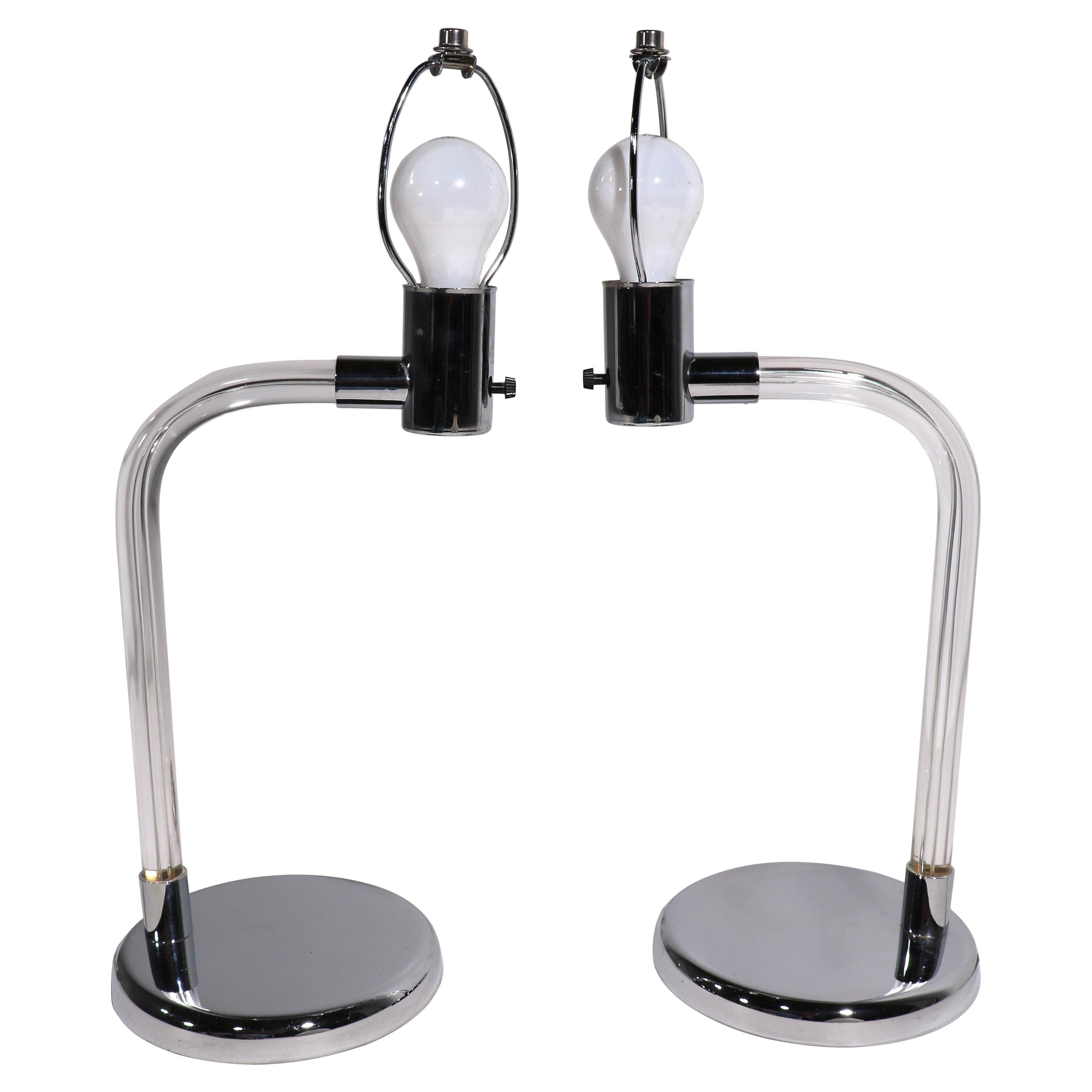 Pr. Lucite and Chrome Desk Lamps Crylicord by Peter Hamburger for Kovacs
