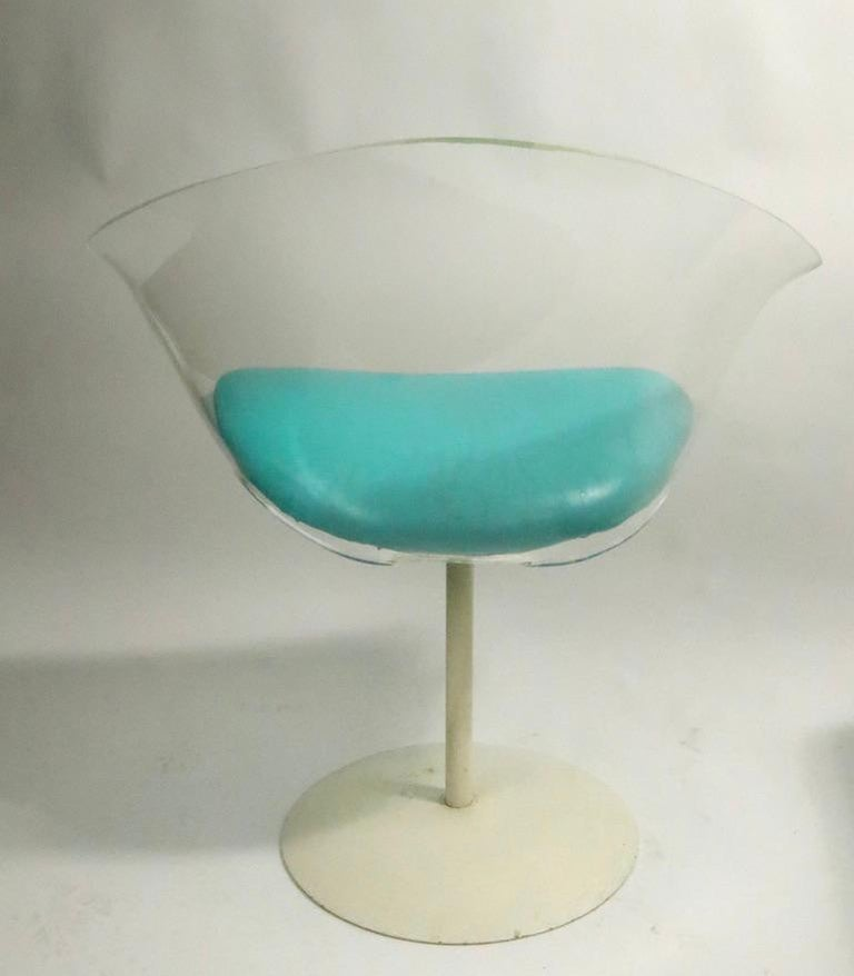 Pair of Lucite Shell Swivel Chairs For Sale 4