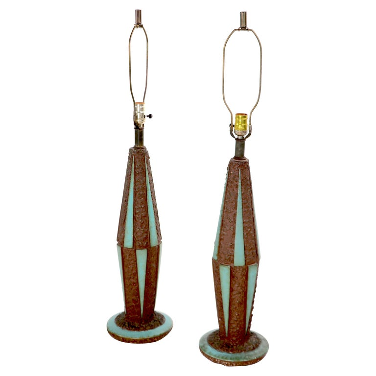 Pr. Mid-Century Modern Ceramic Table Lamps For Sale