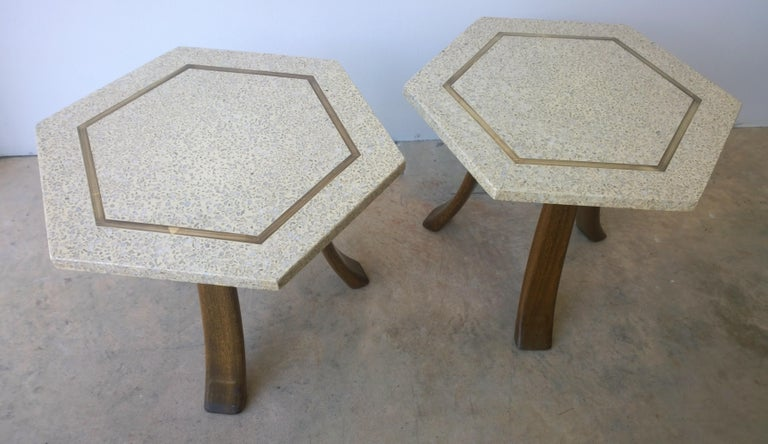 Pair of Probber Blue, White, Brown and Gold Terrazzo Mahogany Tripod Side Tables For Sale 1