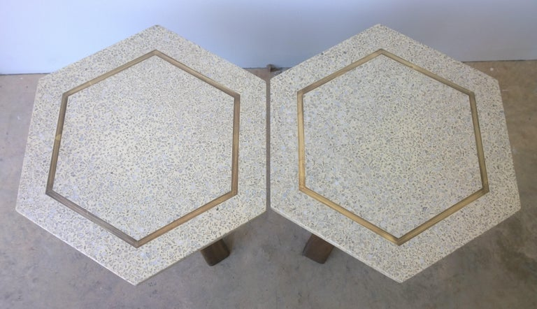 Pair of Probber Blue, White, Brown and Gold Terrazzo Mahogany Tripod Side Tables For Sale 6