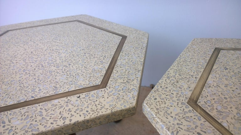 Pair of Probber Blue, White, Brown and Gold Terrazzo Mahogany Tripod Side Tables For Sale 8