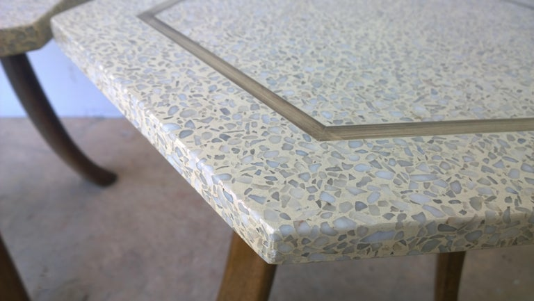 Pair of Probber Blue, White, Brown and Gold Terrazzo Mahogany Tripod Side Tables For Sale 7
