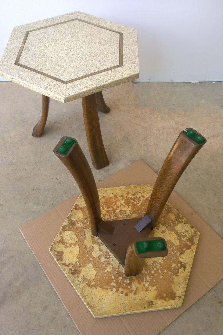 Pair of Probber Blue, White, Brown and Gold Terrazzo Mahogany Tripod Side Tables For Sale 2