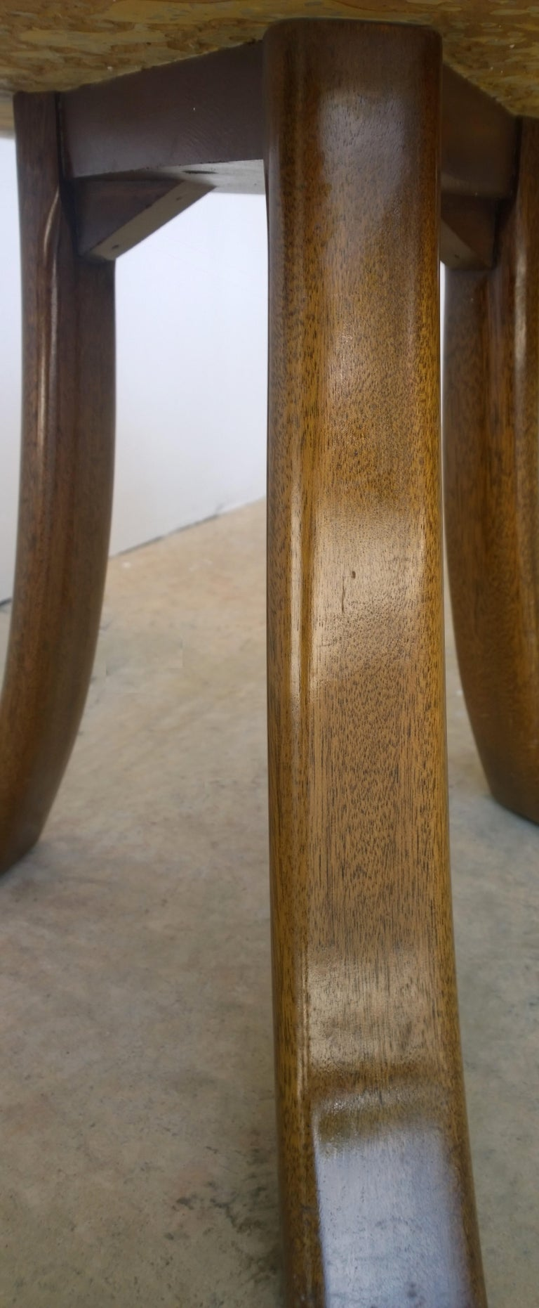 Pair of Probber Blue, White, Brown and Gold Terrazzo Mahogany Tripod Side Tables For Sale 9