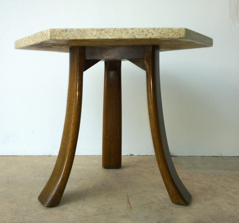 Pair of Probber Blue, White, Brown and Gold Terrazzo Mahogany Tripod Side Tables For Sale 3