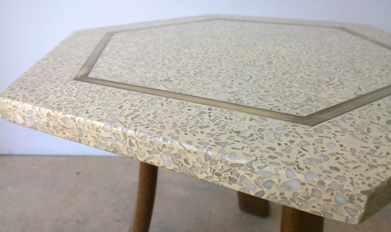Brass Pair of Probber Blue, White, Brown and Gold Terrazzo Mahogany Tripod Side Tables For Sale