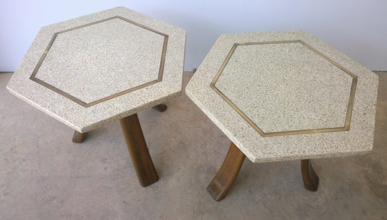Pair of Probber Blue, White, Brown and Gold Terrazzo Mahogany Tripod Side Tables In Good Condition For Sale In Houston, TX