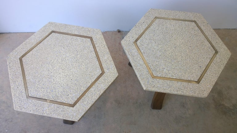 American Pair of Probber Blue, White, Brown and Gold Terrazzo Mahogany Tripod Side Tables For Sale