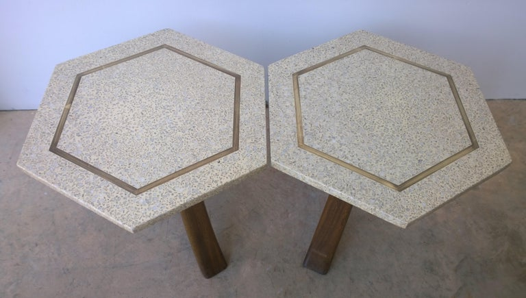 Mid-Century Modern Pair of Probber Blue, White, Brown and Gold Terrazzo Mahogany Tripod Side Tables For Sale