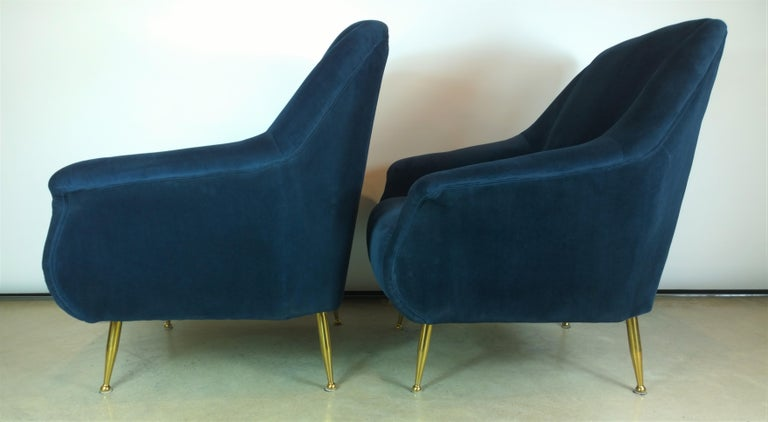 Pair of Zanuso Style Navy Blue Velvet and Brass Legs Lounge or Armchairs For Sale 1
