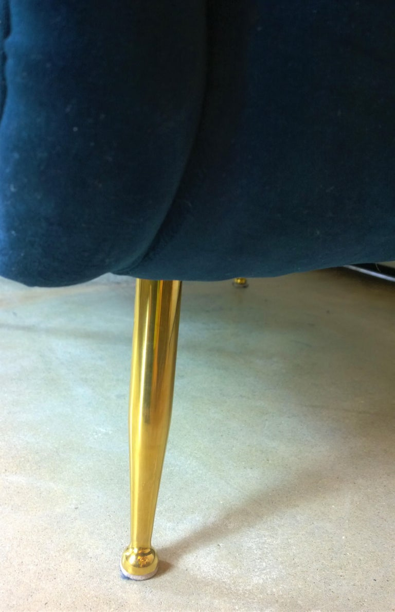Pair of Zanuso Style Navy Blue Velvet and Brass Legs Lounge or Armchairs For Sale 5