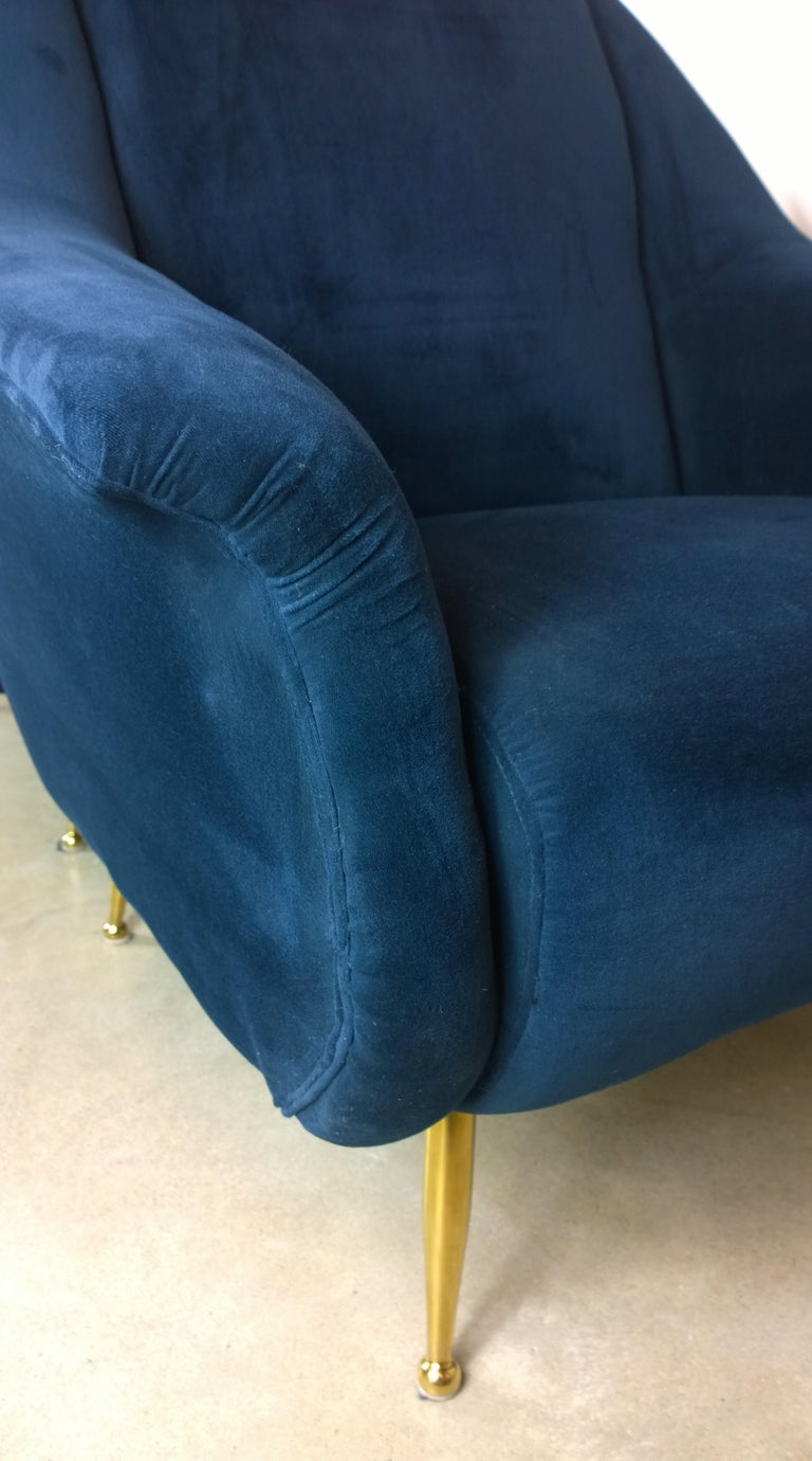 Pair of Zanuso Style Navy Blue Velvet and Brass Legs Lounge or Armchairs For Sale 6