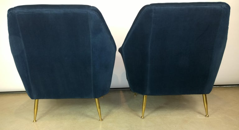 Italian Pair of Zanuso Style Navy Blue Velvet and Brass Legs Lounge or Armchairs For Sale