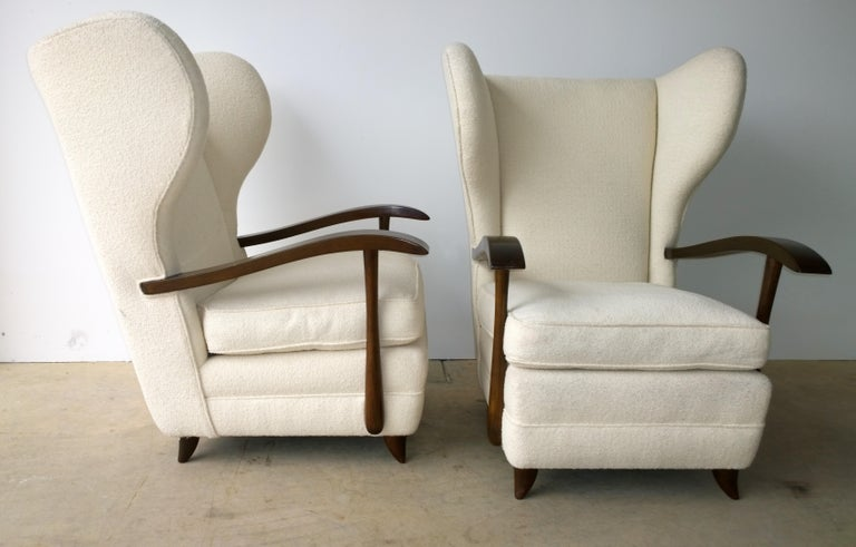 Italian Pair of Paola Buffa Mahogany Frame and White Wool Boucle Arm or Lounge Chairs For Sale